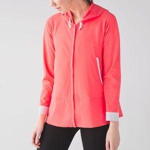 Lululemon Sun Showers Jacket: Grapefruit/White